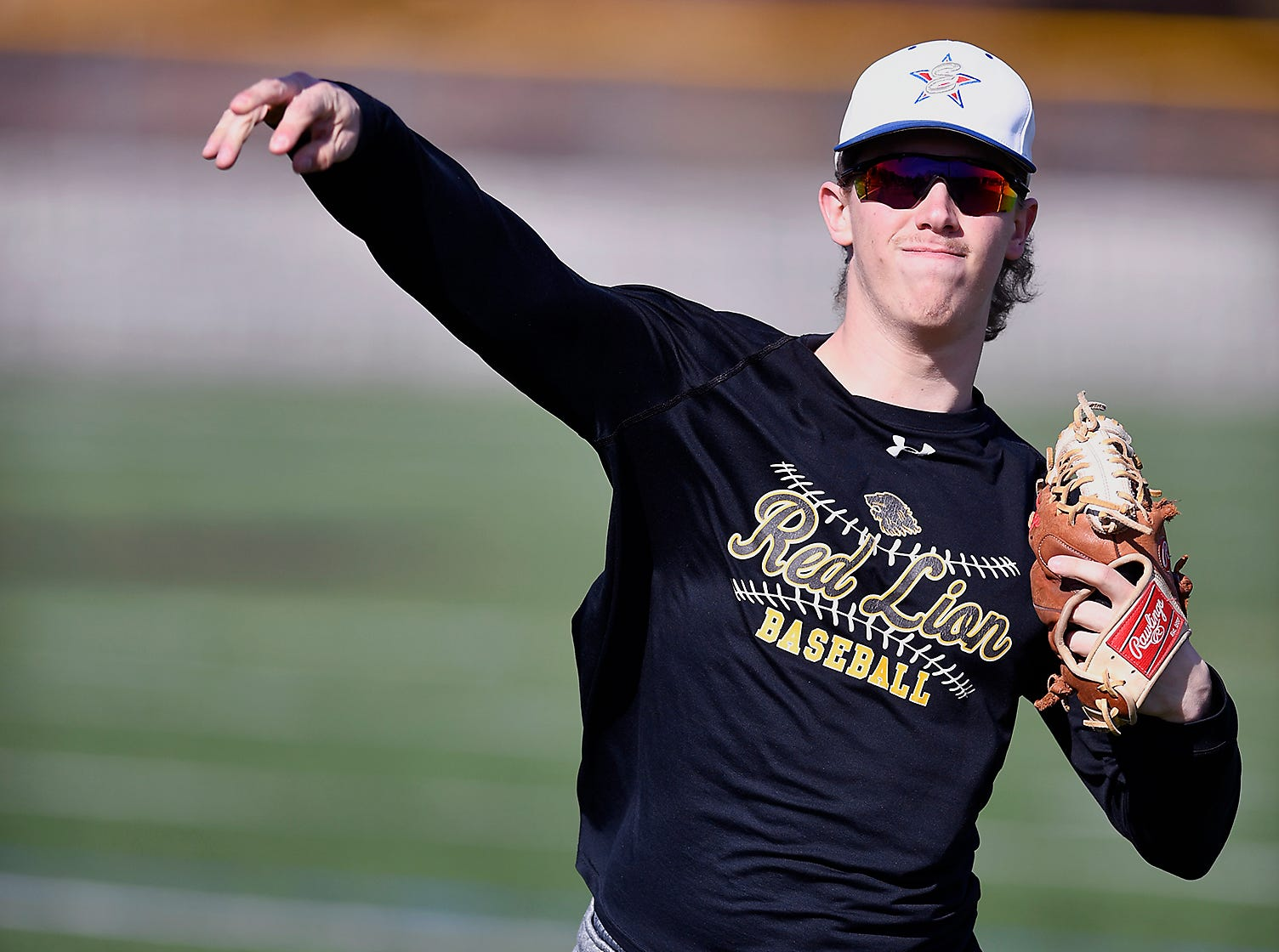 Red Lion High School pitching ace C.J. Czerwinski warms up during practice, Monday, March 11, 2019John A. Pavoncello photo
