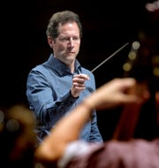 Lawrence Golan, music director for the York Symphony, conducts during a rehearsal at the Appell Center for the Performing Arts Friday, March 8, 2019. Bill Kalina photo