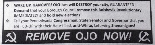A small section of a flier opposing Hanover Mayor Myneca Ojo is shown. The hate-filled piece was distributed to Hanover residents.