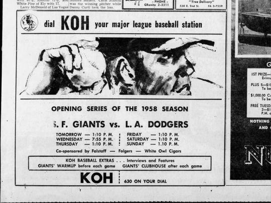 An advertisement for radio broadcast of the first San Francisco Giants series on KOH.