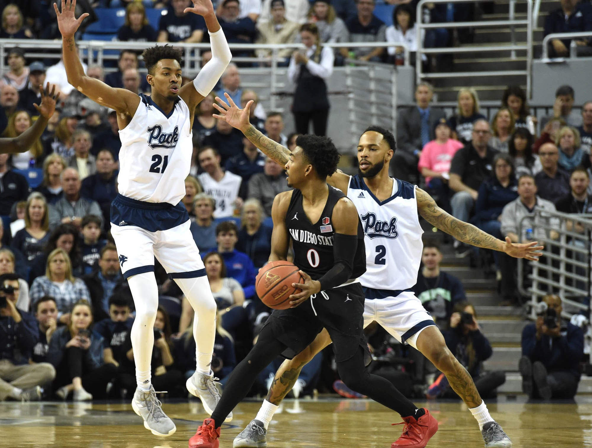 Images of Nevada defeating San Diego State 81-53 on Senior Night at Lawlor Events Center on Saturday March 9, 2019.