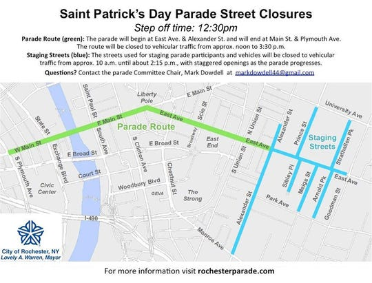 St. Patrick's Day street closures.