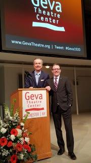 Geva Artistic Director Mark Cuddy (l) and Geva Executive Director Christopher Mannelli before the 2019 2020 season announcement Monday.