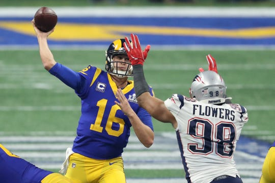 Trey Flowers pressures Rams QB Jared Goff in Super Bowl LIII.