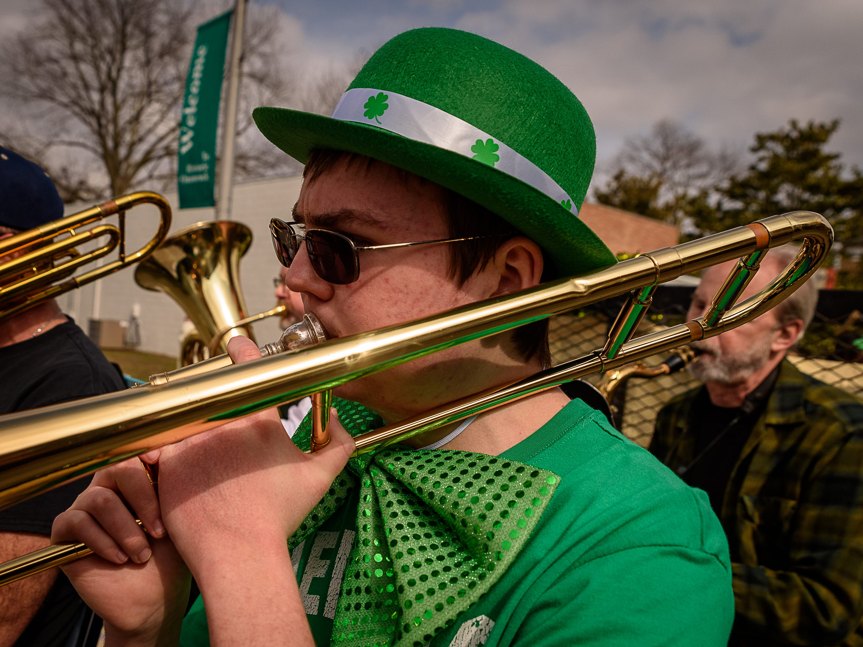 A member of the Accomac Community Band performs in the Onancock parade.
