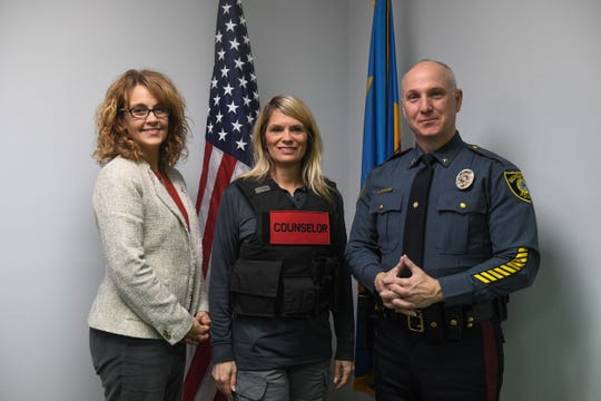 Amy Kevis, Connections Director of Criminal Justice & Community partnership, Michelle Robinson, Licensed Mental Health Clinician through the Connections Alliance, and R.L. Hughes, Chief of Police-Georgetown.