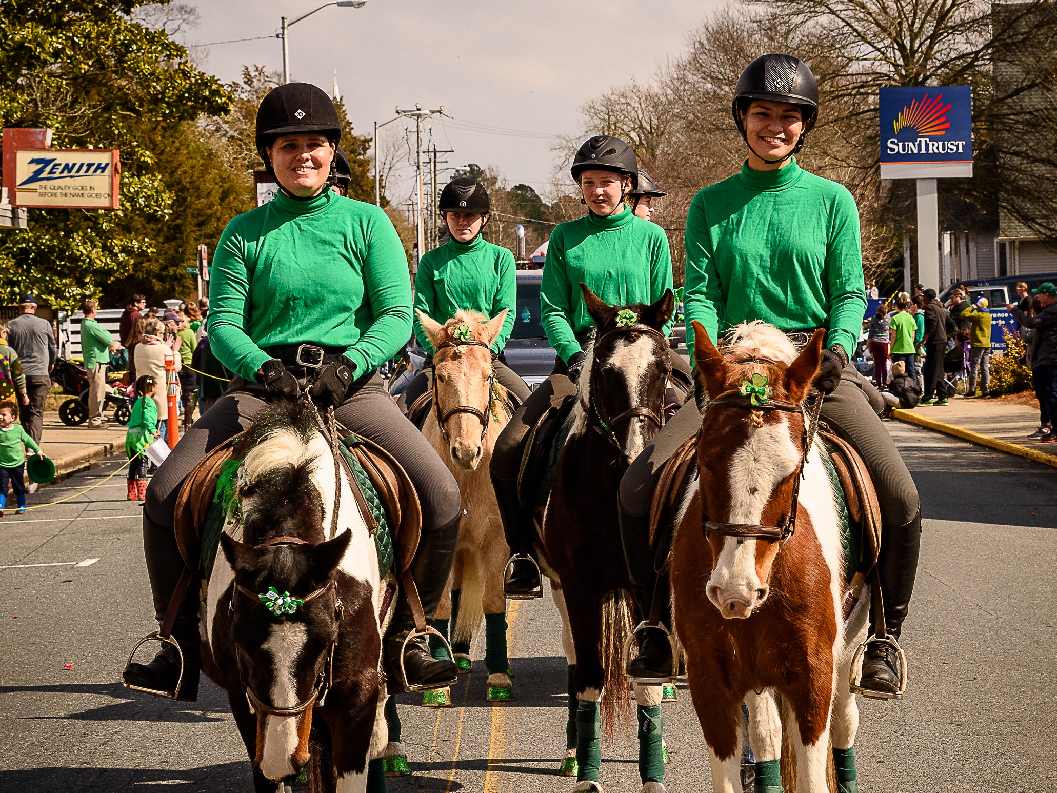 The Chincoteague Pony Drill Team line up their ponies to show off their precision drill work in the Onancock parade.