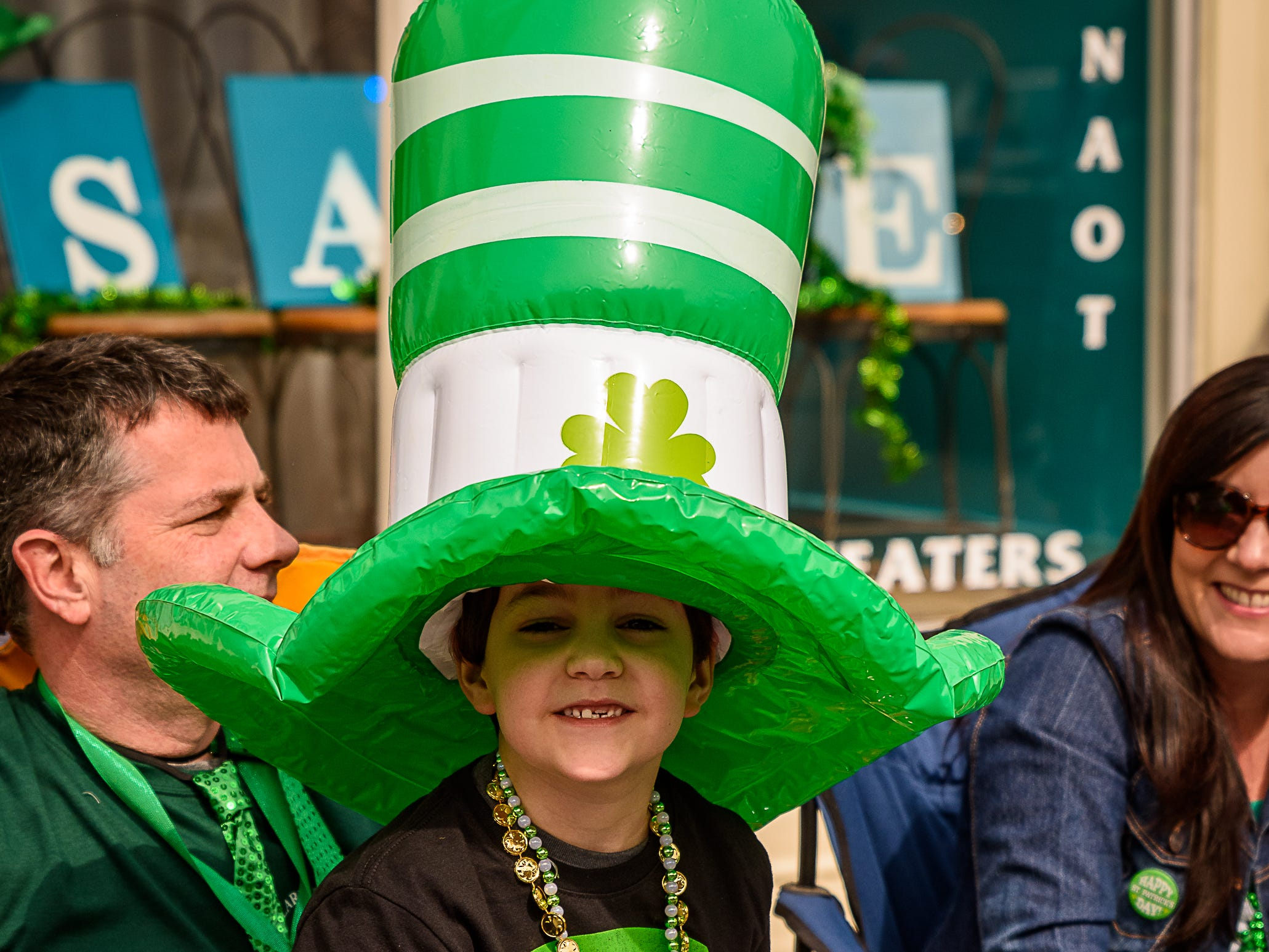 A young spectator is dressed for the occasion at the Onancock St. Patrick's parade.