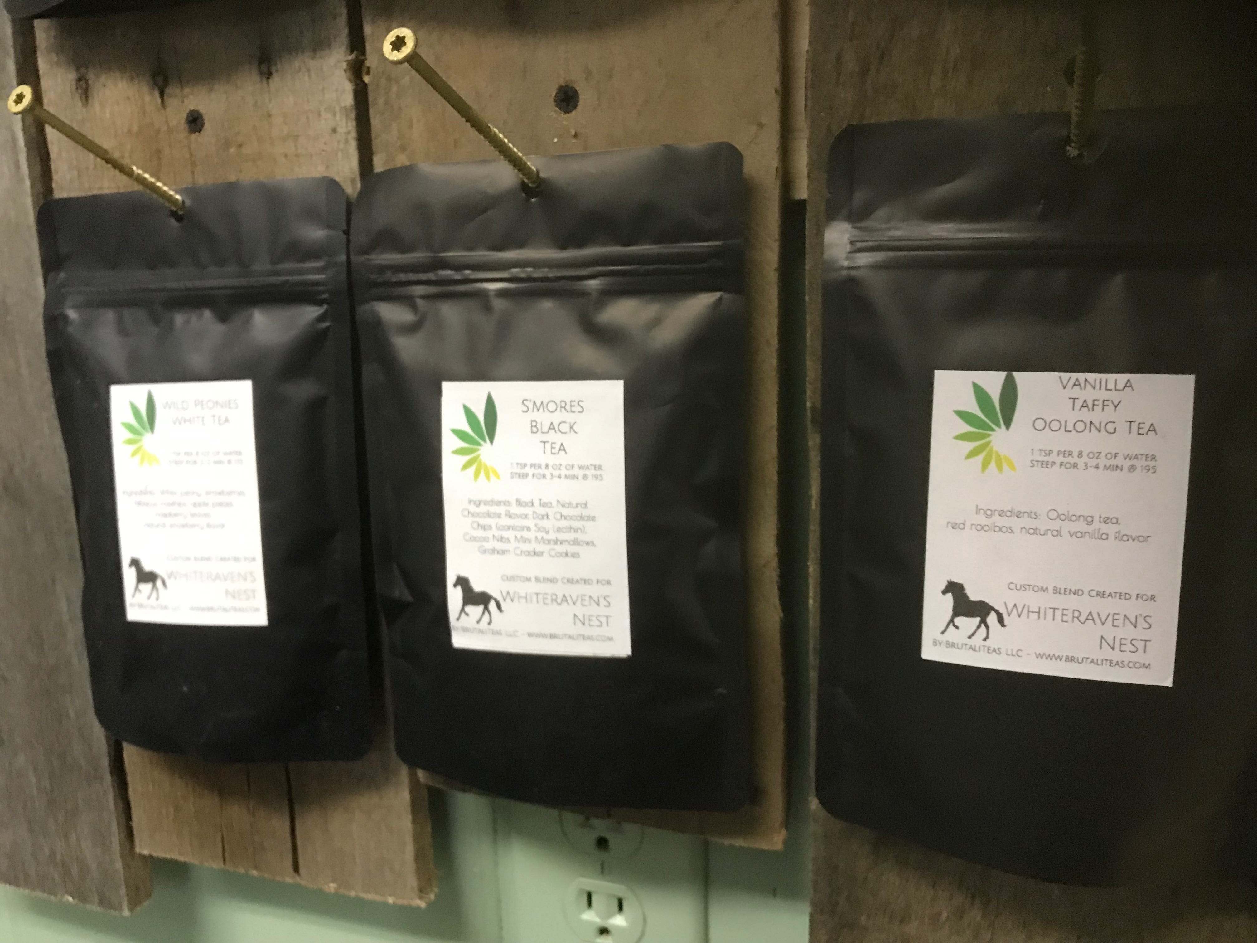 Several varieties of tea are sold at Whiteraven's Nest Farm to Table store on Chincoteague Road in Wallops Island, Virginia.