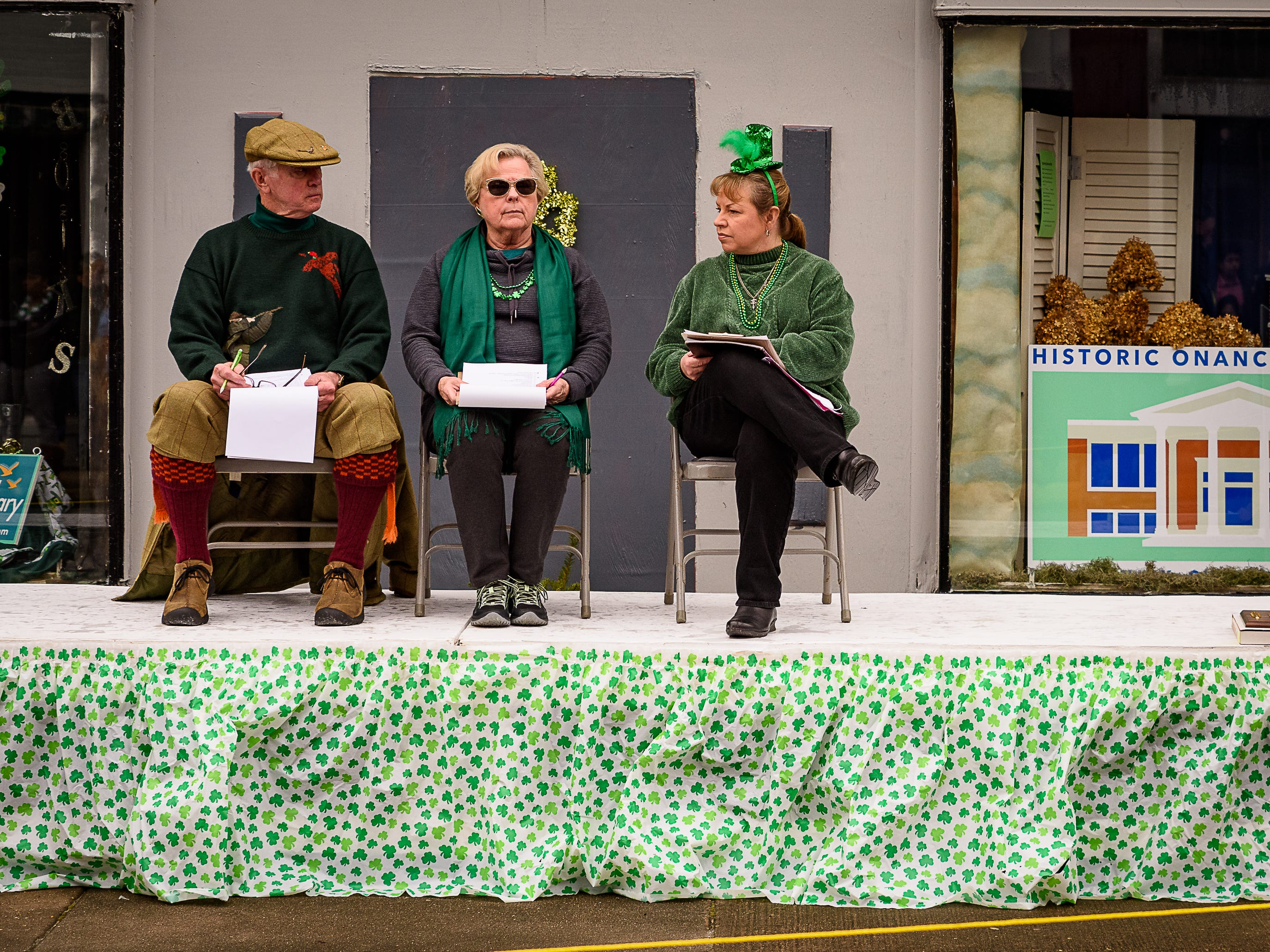 Judges look on at the 2019 Onancock St. Patrick's Day Parade on Sunday, March 10.