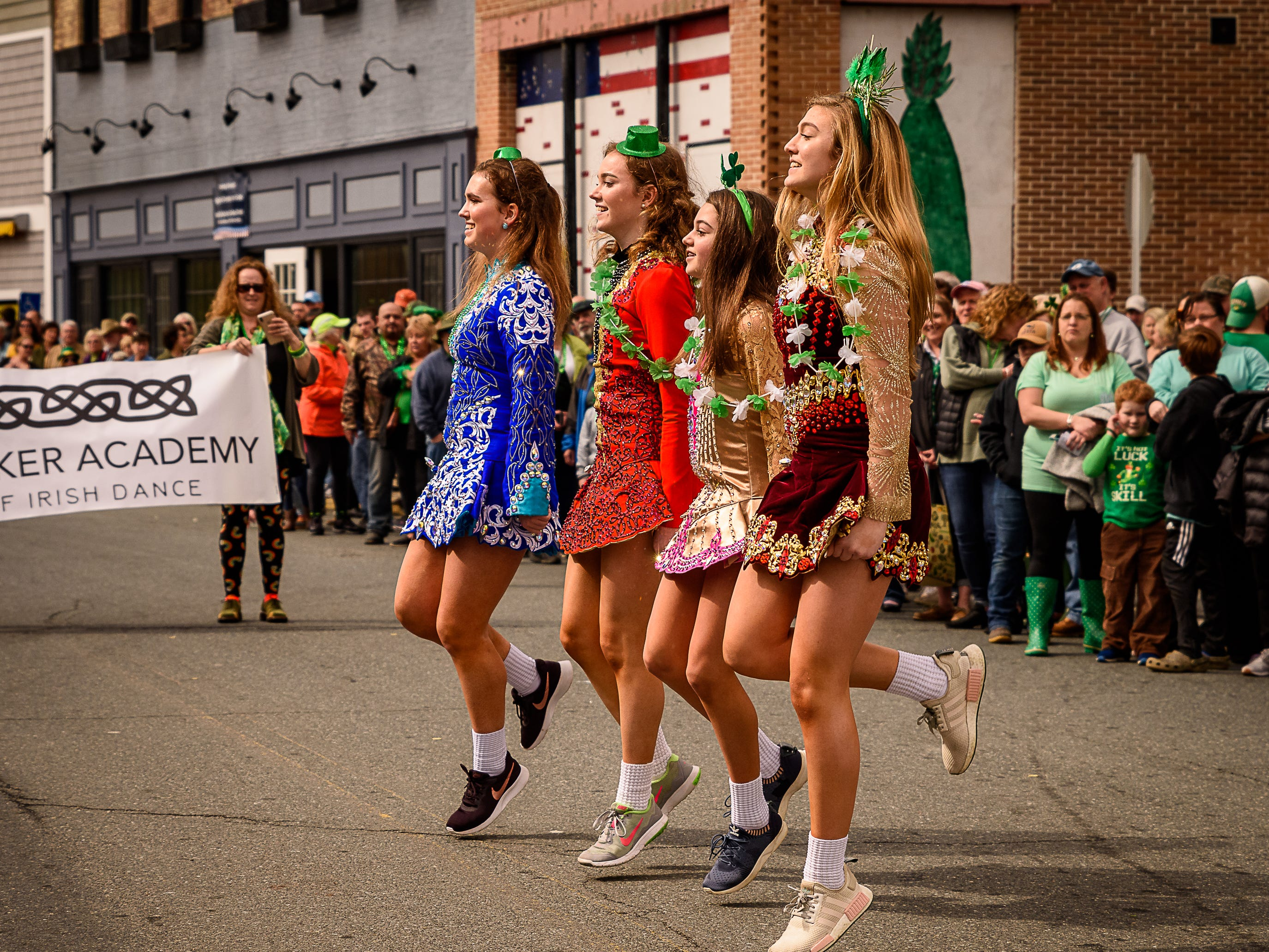 Members of The Walker Academy Of Irish Dance perform in the St Partick's parade in Onancock.