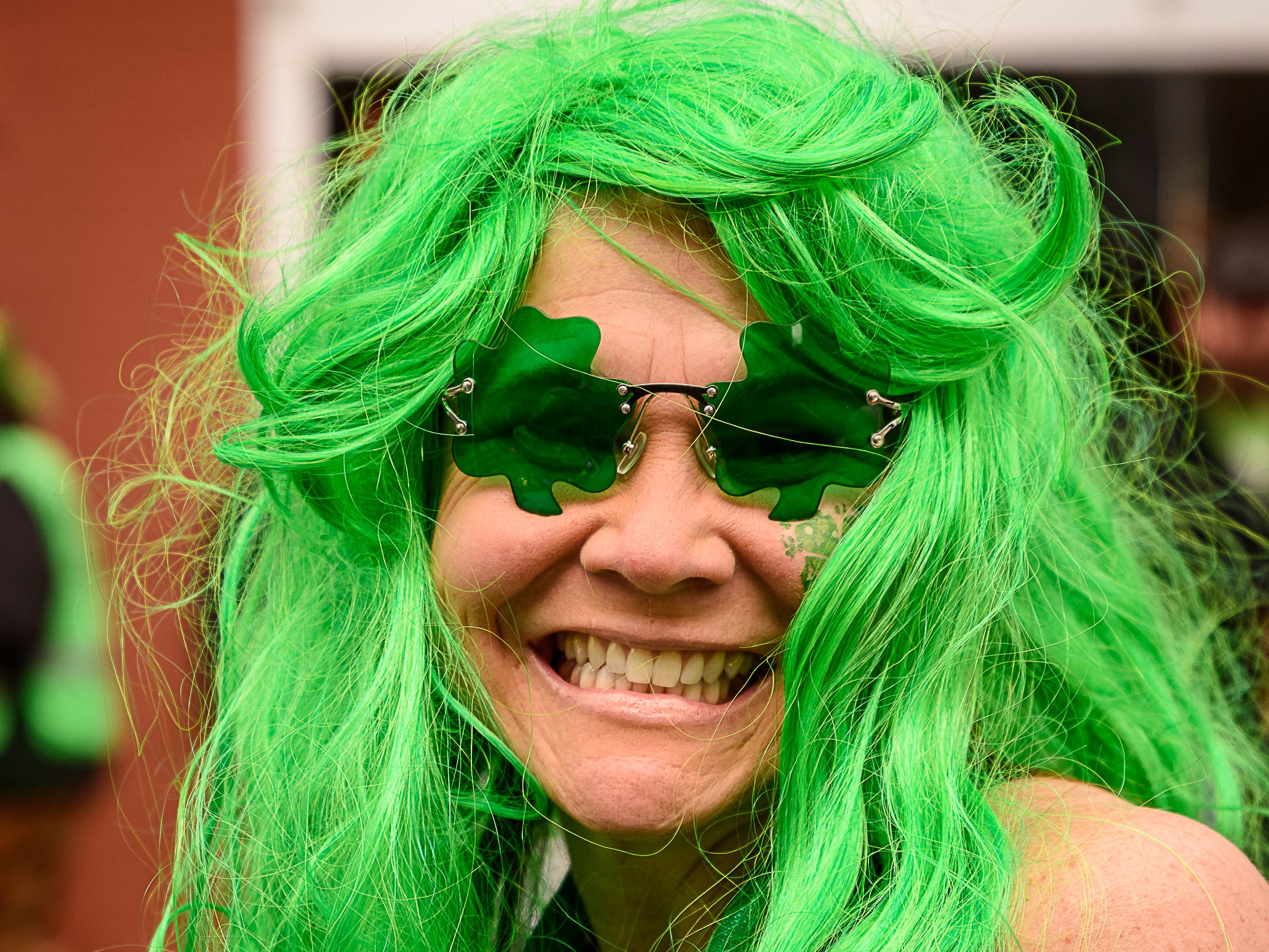 A parade participant gets into the spirit of St. Patrick's holiday at the Onancock parade on Sunday, March 10.