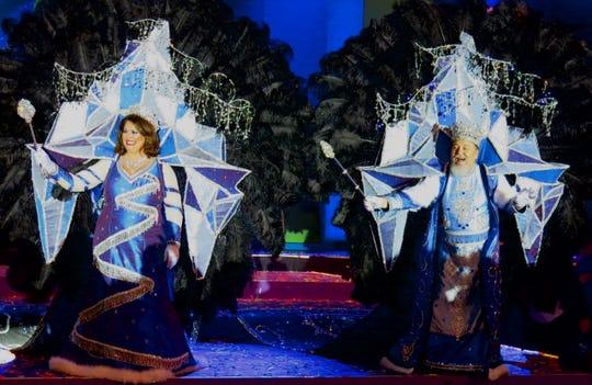 "Krewe Gemini XXX Queen  Karen Baker and King Benny Whaley meet their subjects at the black-tie "" Gemini's World Adventure."""