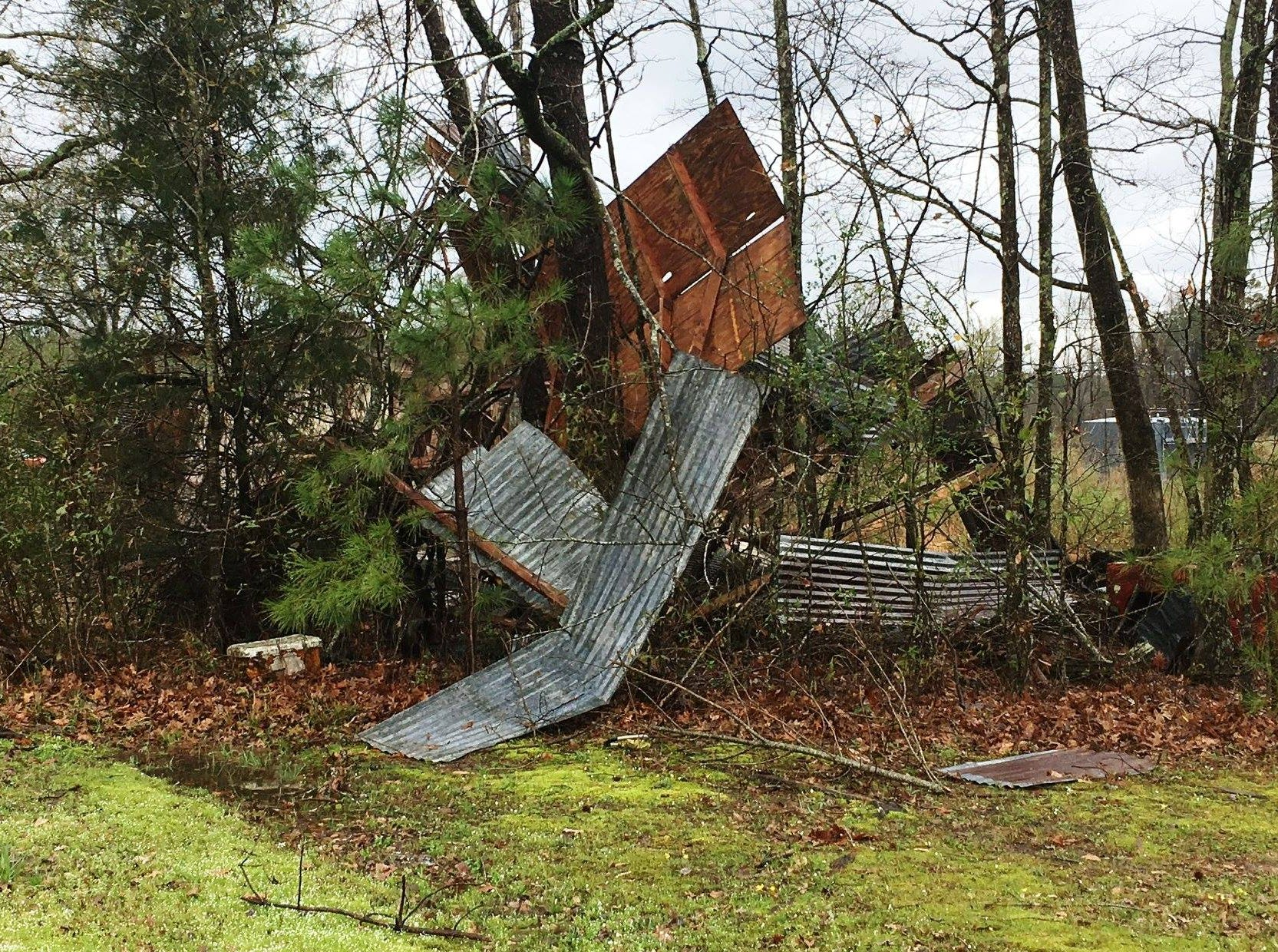 Tornado damage on the 1100 block of Mott Road in Bossier Parish. Three category EF1 tornadoes were reported to touchdown in Bossier, Caddo and Webster parishes on March 9, 2019.