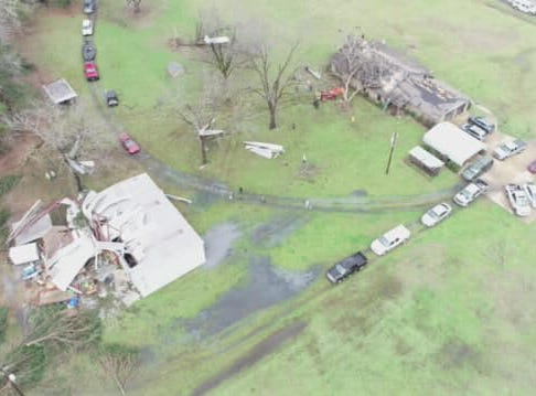 Still images from a video taken of 18025 LA Hwy 1 by the Caddo Sheriff's Office Drone Unit. Three category EF1 tornadoes were reported to touchdown in Caddo, Bossier and Webster parishes on March 9, 2019.