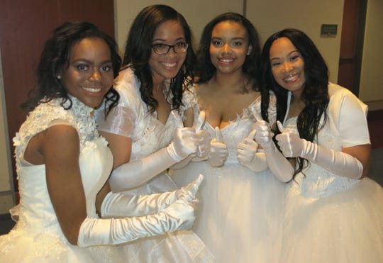 Alpha Kappa Alpha Debs on the night of Debutante Cotillion: Khayla Maywether, Niyah Dorsey, Dara Gallion, Cameron Jack.