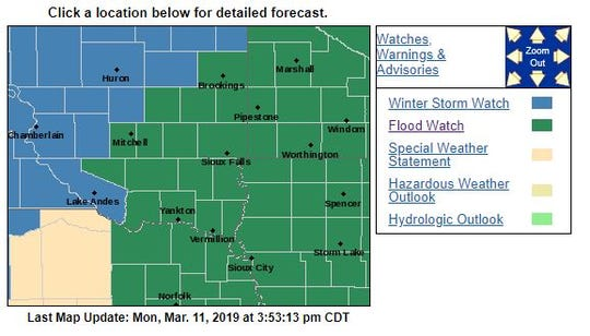Flood watch for Wednesday