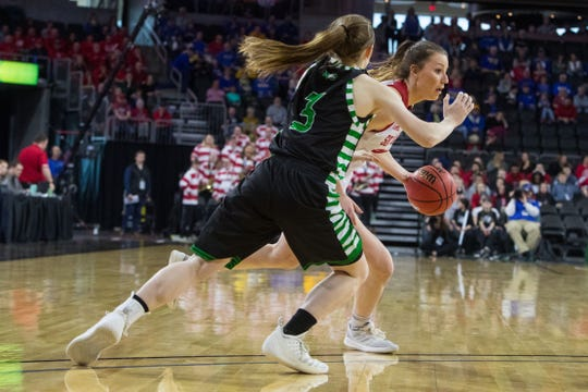 USD's Ciara Duffy (24) dribbles the ball during the game against North Dakota at the 2019 Summit League Basketball Tournament at the Denny Sanford Premier Center  in Sioux Falls, S.D., Monday, March 11, 2019.