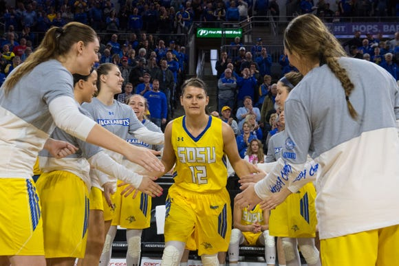 SDSU's Macy Miller (12) was a coveted recruit out of Mitchell who helped the Jackrabbits break through to the next level.