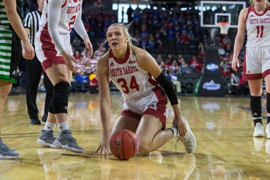 USD's Hannah Sjerven (34) falls to the ground during the game against North Dakota at the 2019 Summit League Basketball Tournament at the Denny Sanford Premier Center  in Sioux Falls, S.D., Monday, March 11, 2019.