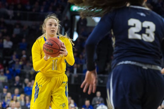 SDSU's Madison Guebert (11) looks to pass the ball during the game against Oral Roberts at the 2019 Summit League Basketball Tournament at the Denny Sanford Premier Center  in Sioux Falls, S.D., Monday, March 11, 2019.