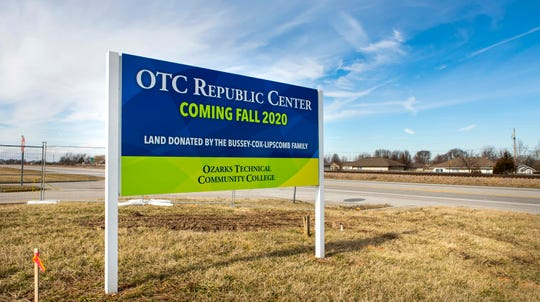 A sign for the new OTC Republic Center is visible from U.S. 60, on the southwest edge of Republic.