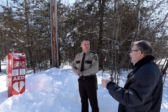 Stearns Sheriff Steve Soyka and Mended Hearts Member Joel Vogel talked about upping access to AEDs on March 11, 2019.
