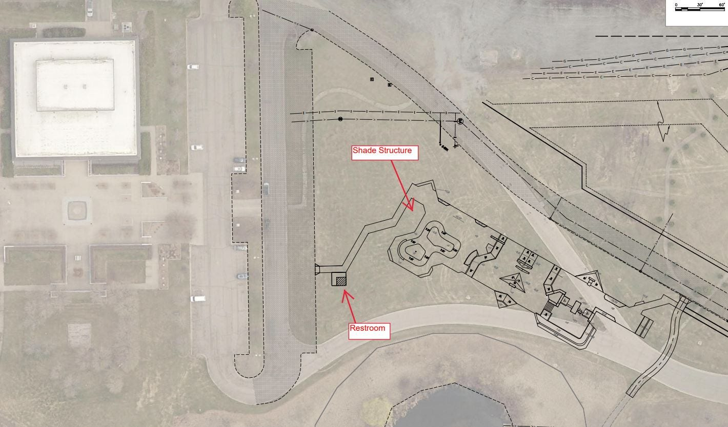 An aerial map shows the reconfiguration of the skate plaza at Heritage Park with a new shade structure and restroom.