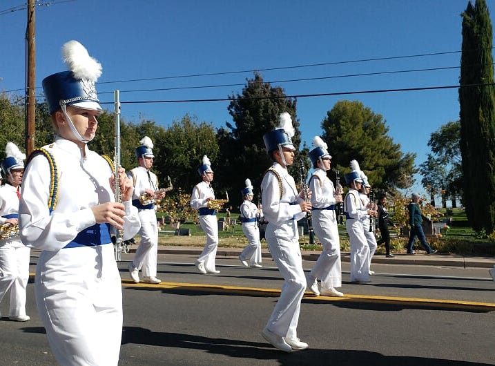The Dixie High School Marching Band won the marching drum competition the day of the Veteran Day Parade on Nov 12, 2018.