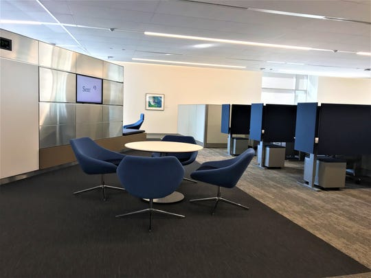 Cubicles are adjustable for height at the new Sentry Insurance office. There are open spaces for collaboration and meetings, as well.