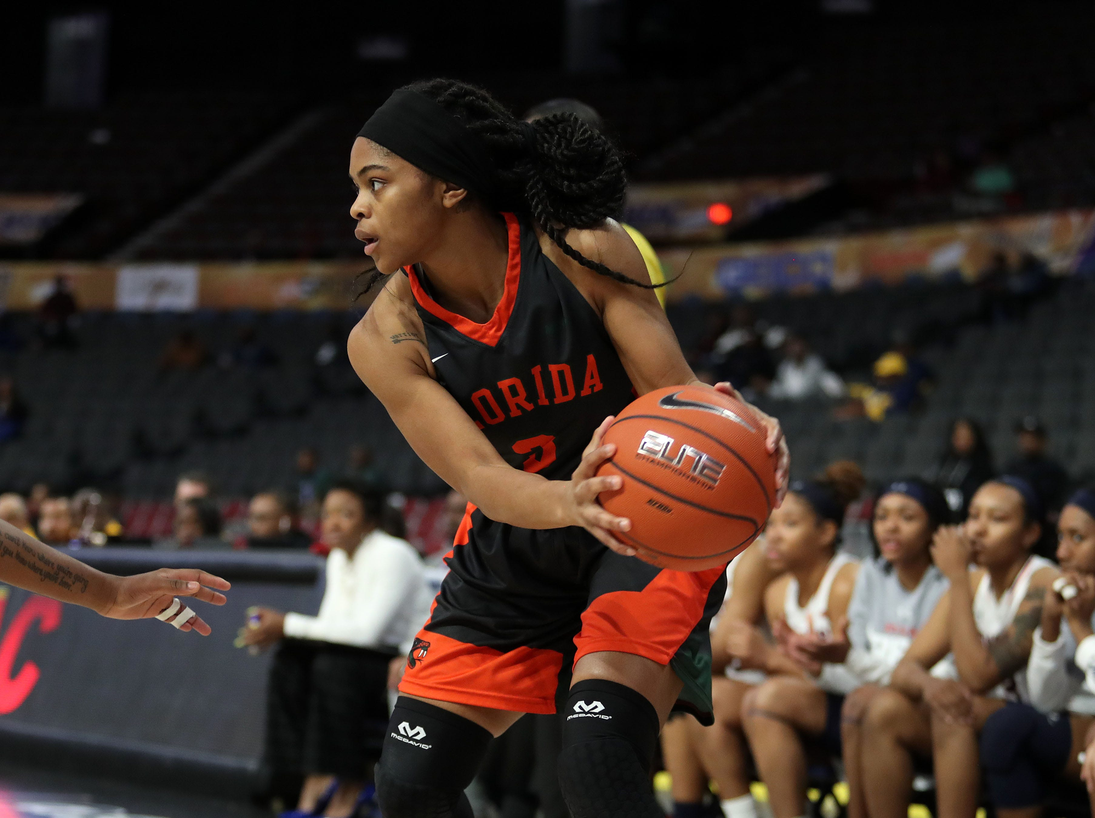 FAMU guard Candice Williams spots up versus Howard in the first round of the MEAC tournament on Monday, March 11, 2019.