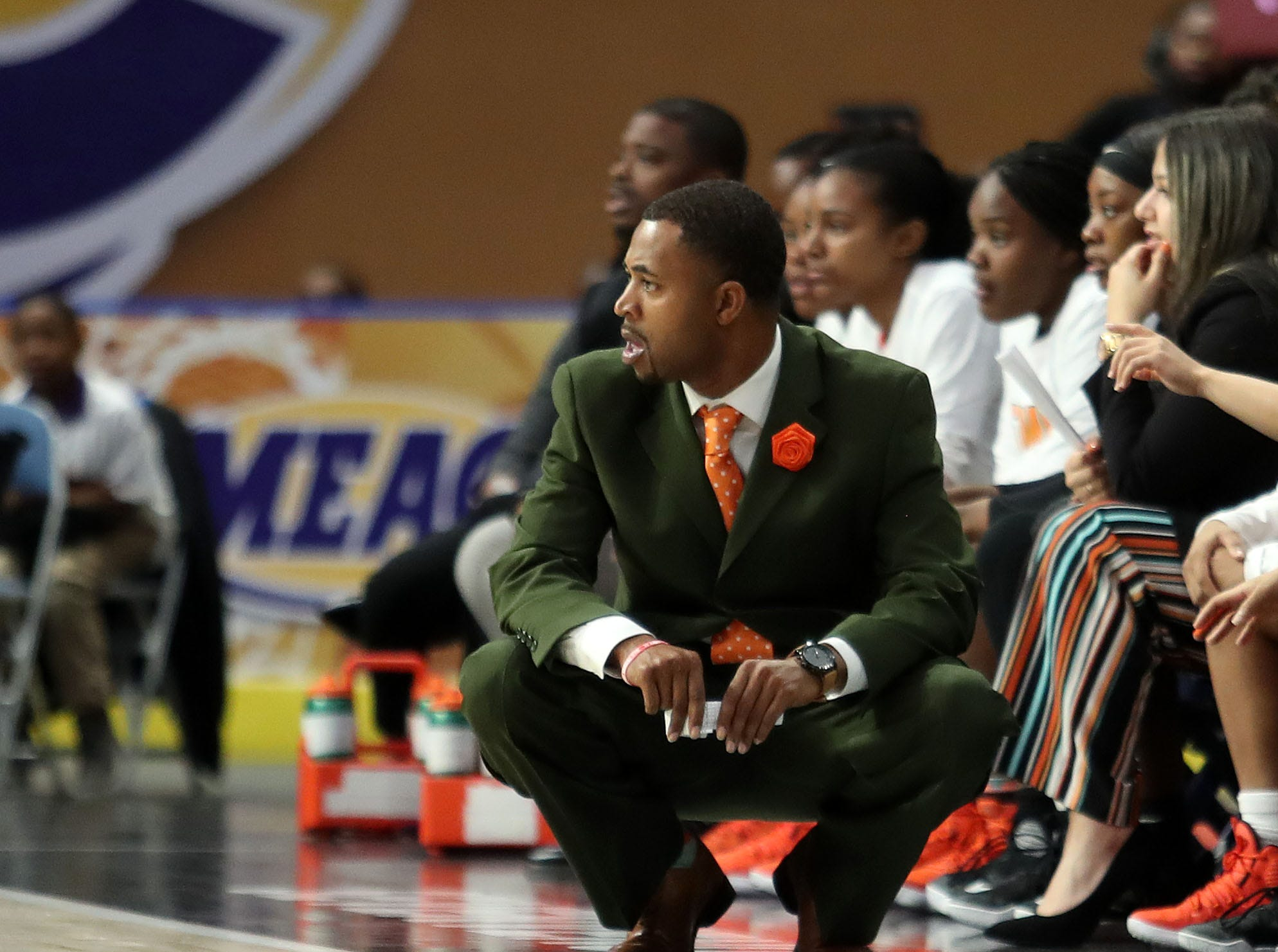 FAMU women's basketball interim coach Kevin Lynum observes the action in the MEAC tournament. The Rattlers fell to Howard in the first round on Monday, March 11, 2019.