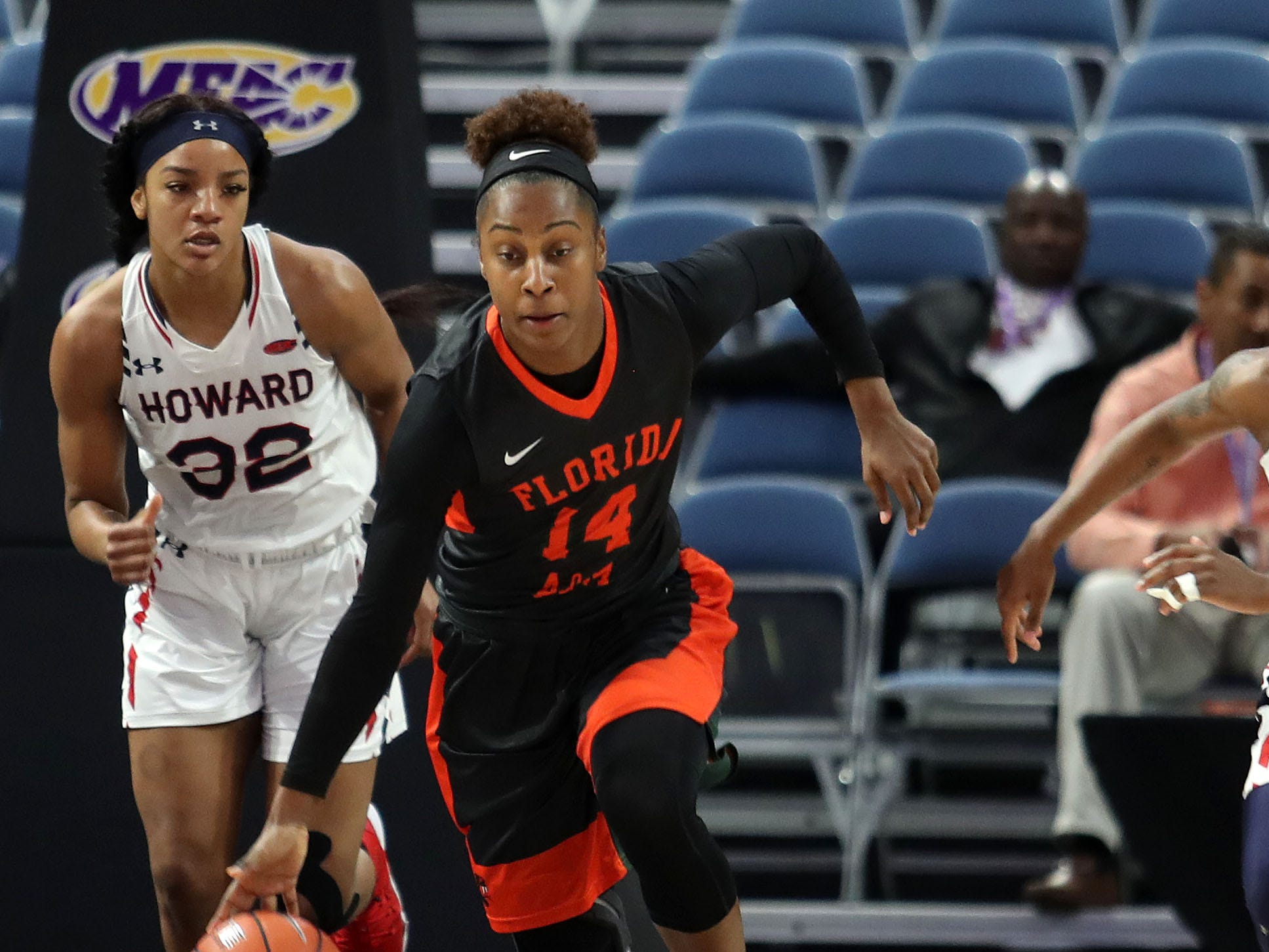 FAMU Tyra James dribbles the ball after collecting a rebound in the MEAC tournament on Monday, March 11, 2019.