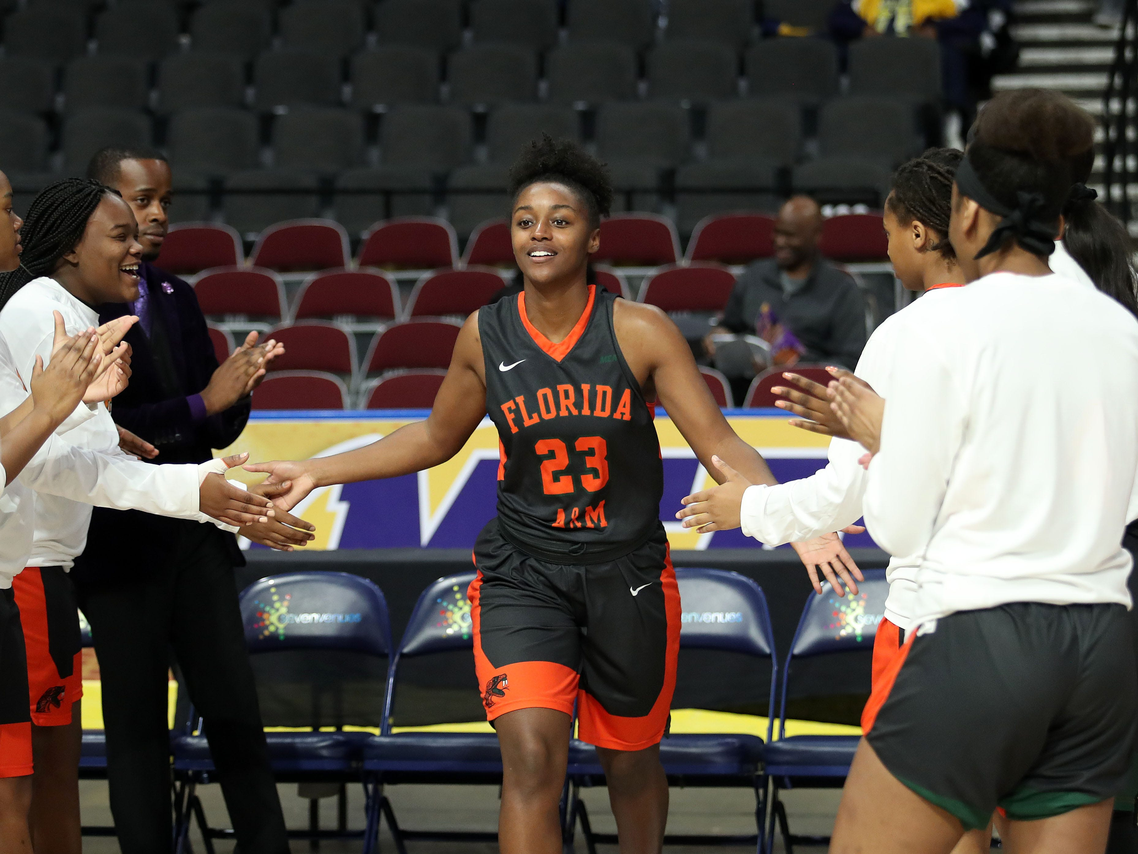 FAMU senior Taylor Darks takes the court during the pregame introduction during the MEAC tournament on Monday, March 11, 2019.