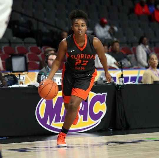 FAMU senior Taylor Darks looks to score in the first round of the MEAC tournament versus Howard on Monday, March 11, 2019.