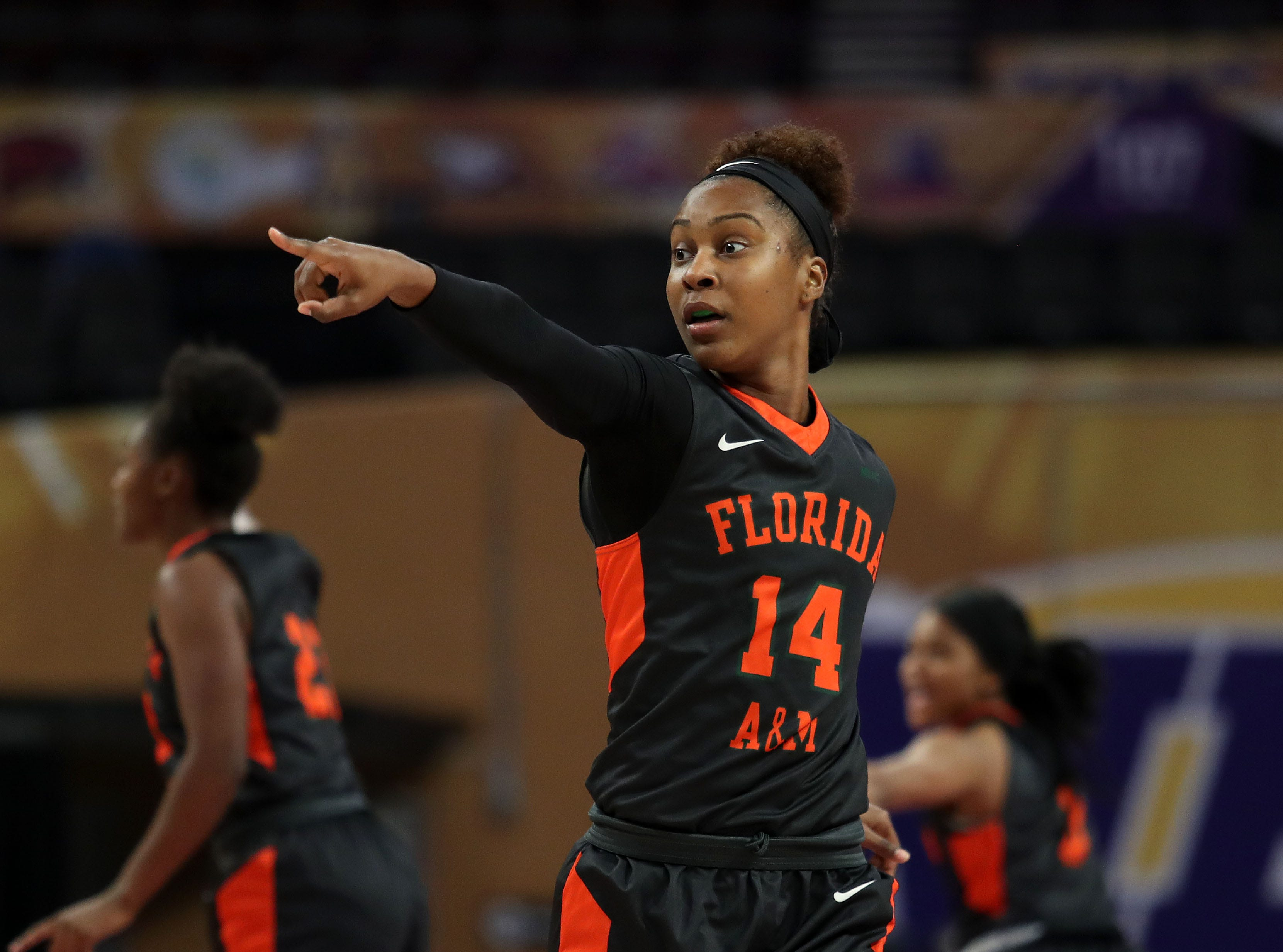 FAMU's Tyra James points out a play versus Howard in the first round of the MEAC tournament on Monday, March 11, 2019.