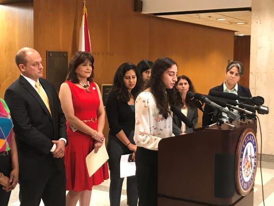 Florida State University student and DACA recipient Natalie Charco addresses news media about Sen. Joe Gruters' sanctuary cities bill.