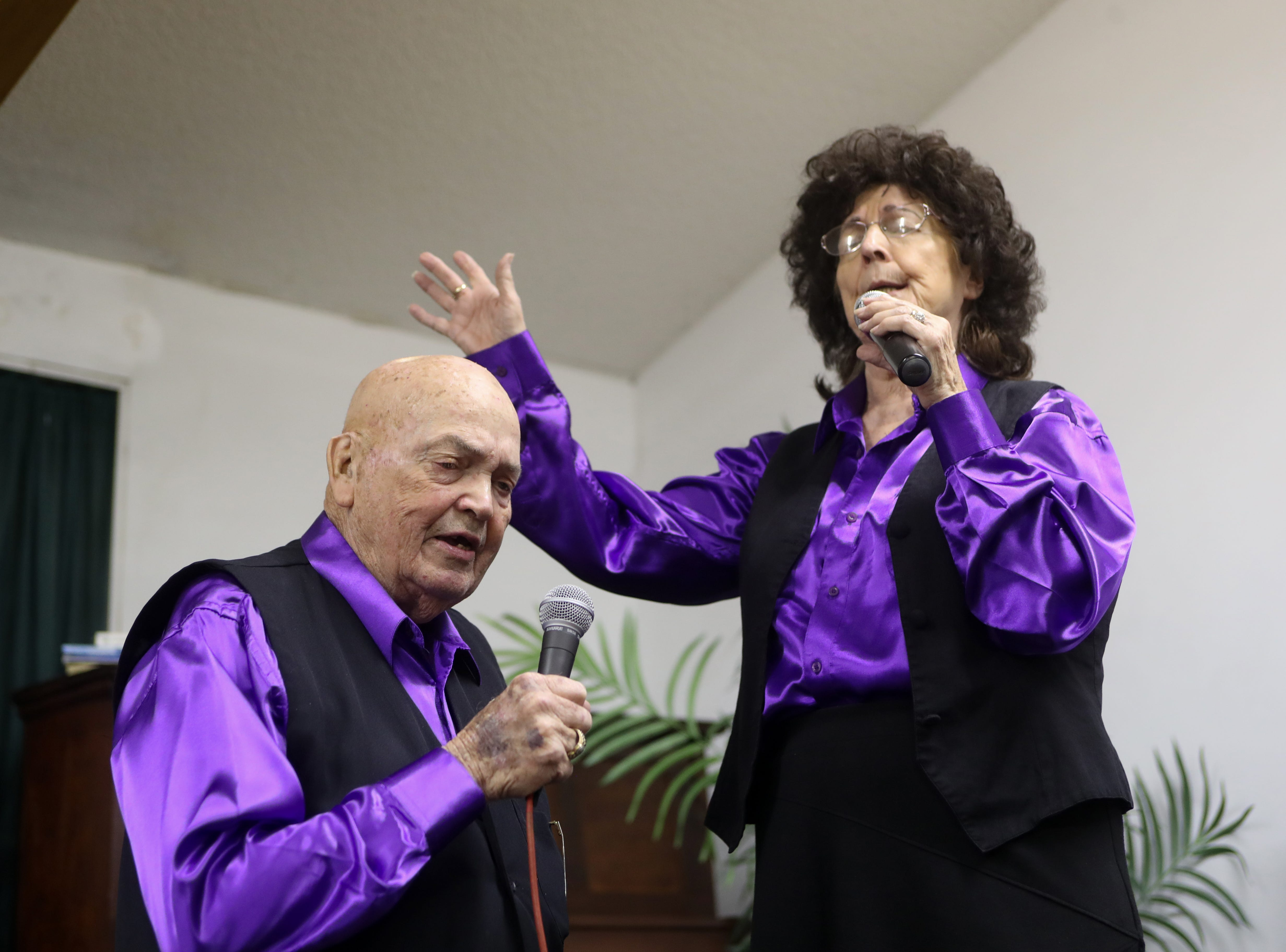 "Bobby and Juanita ""Nita"" Key sing together one last time during the last gospel sing service at Ole Gospel Tabernacle Church Friday, March 8, 2019."