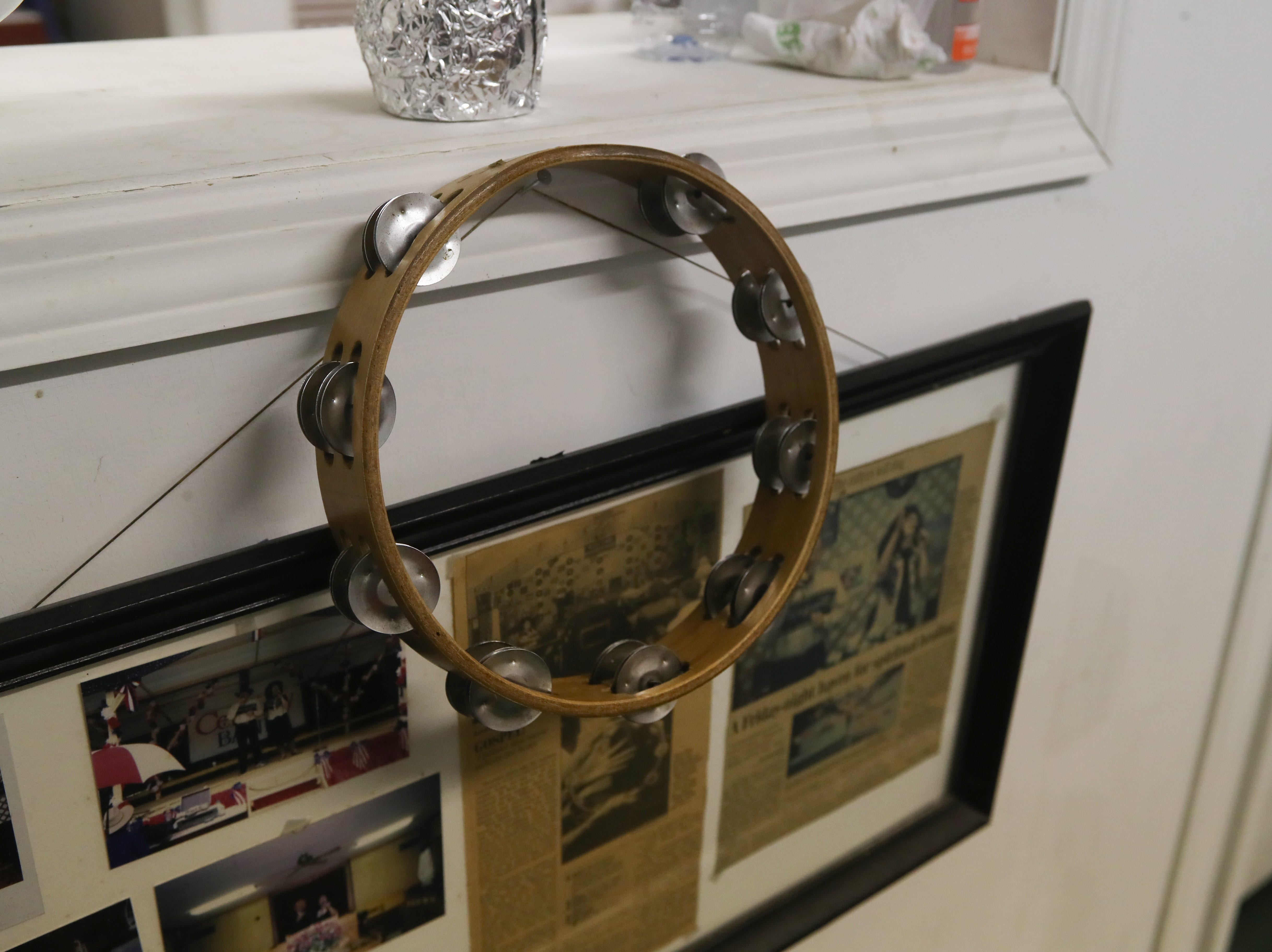 A tambourine used by Bobby Key's sister during the first service at Ole Gospel Tabernacle Church hangs in the back of the church during the last gospel sing service held there Friday, March 8, 2019.