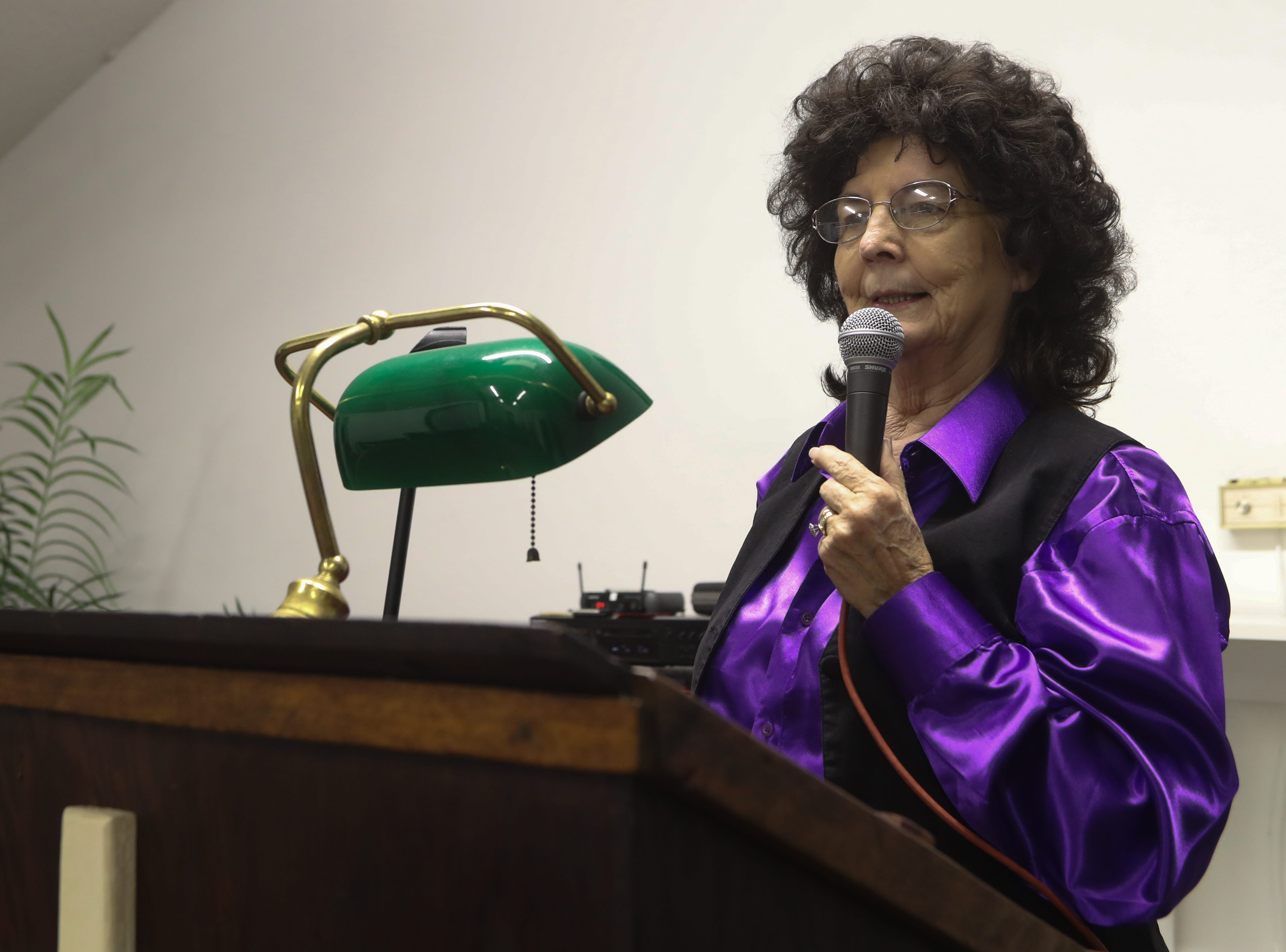 "Juanita ""Nita"" Key says a few words during the last gospel sing service at Ole Gospel Tabernacle Church Friday, March 8, 2019."