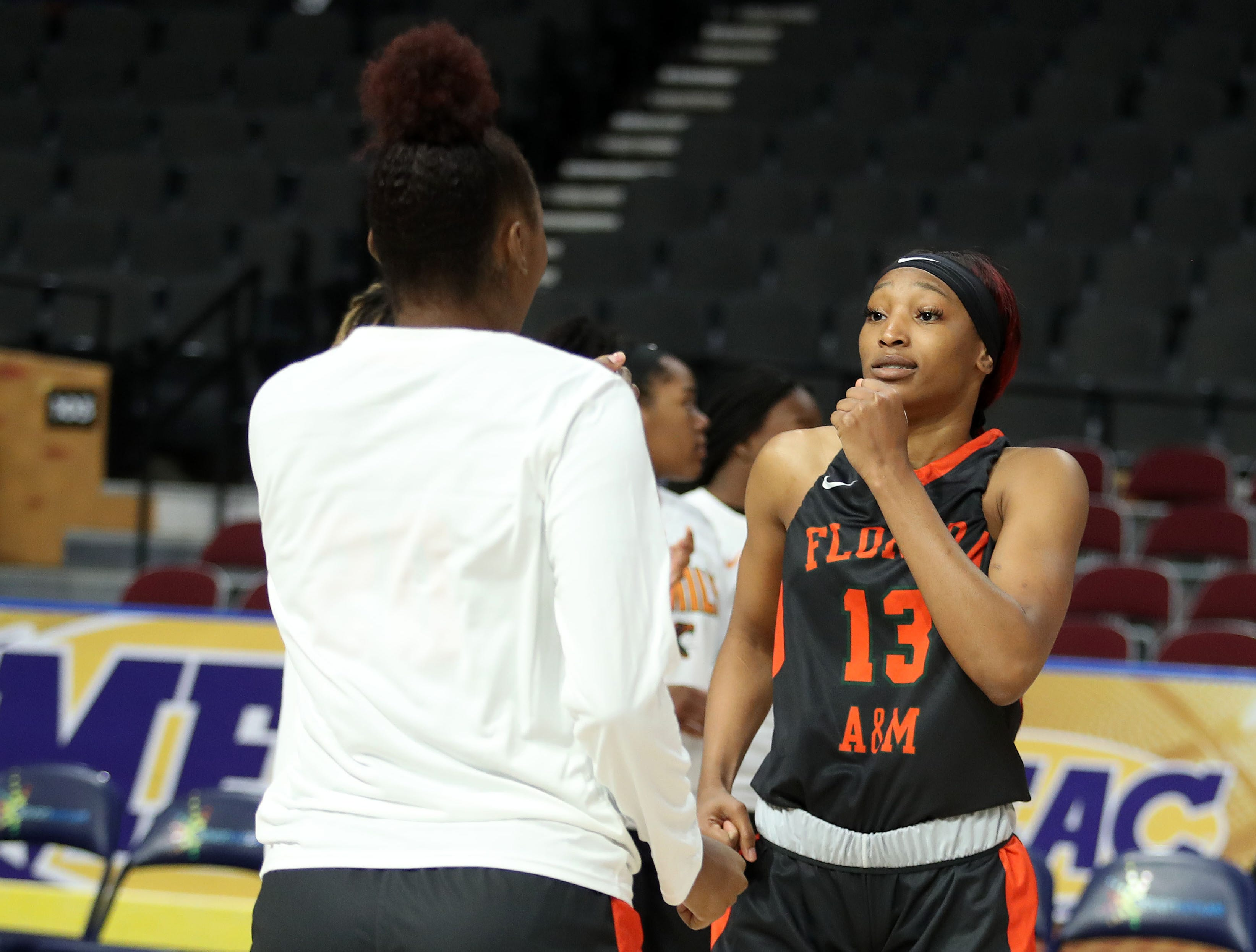 FAMU forward Dy'Manee Royal dances during pregame introductions at the MEAC tournament on Monday, March 11, 2019.