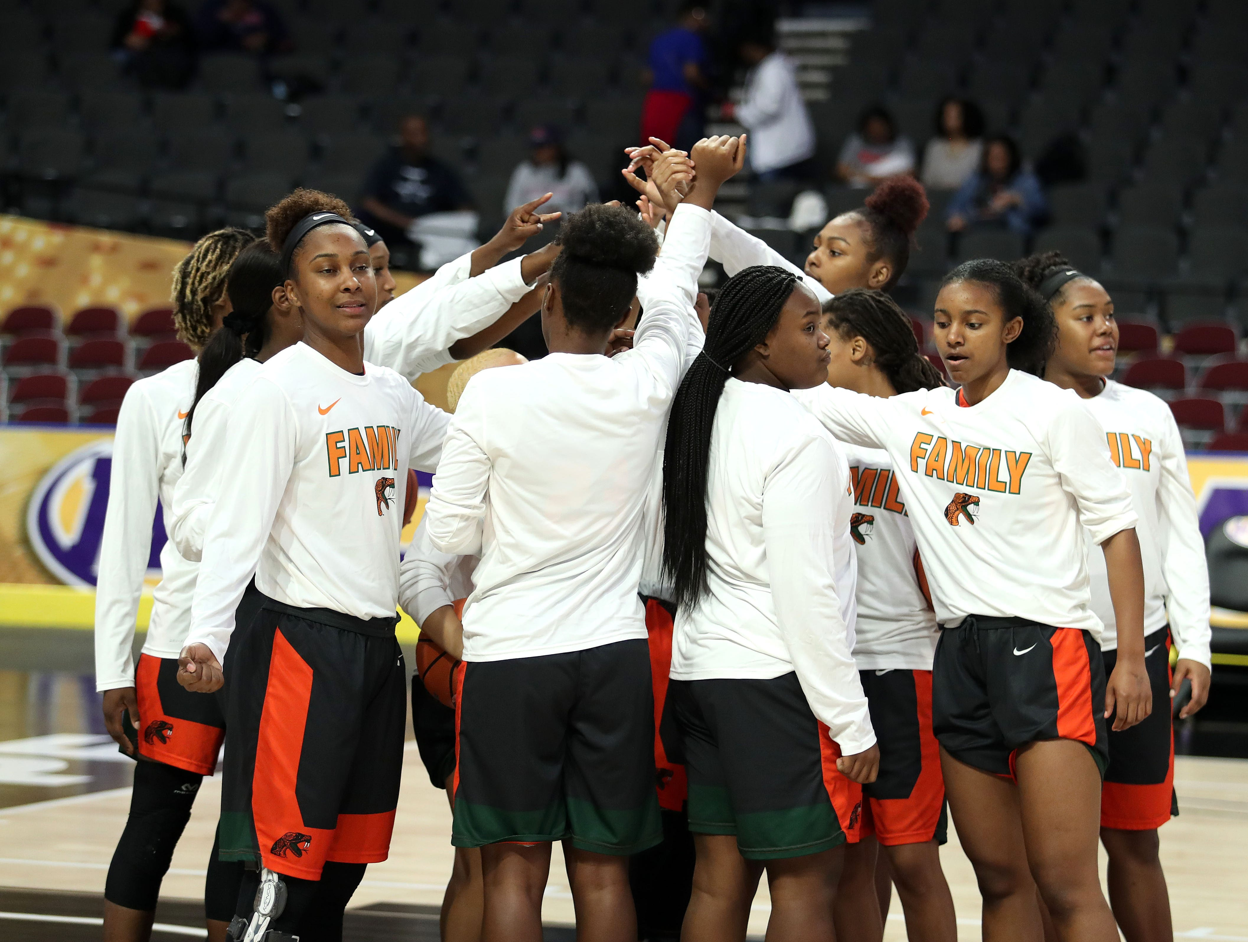 FAMU players unite prior to the opening tip of the MEAC tournament game versus Howard on Monday, March 11, 2019.