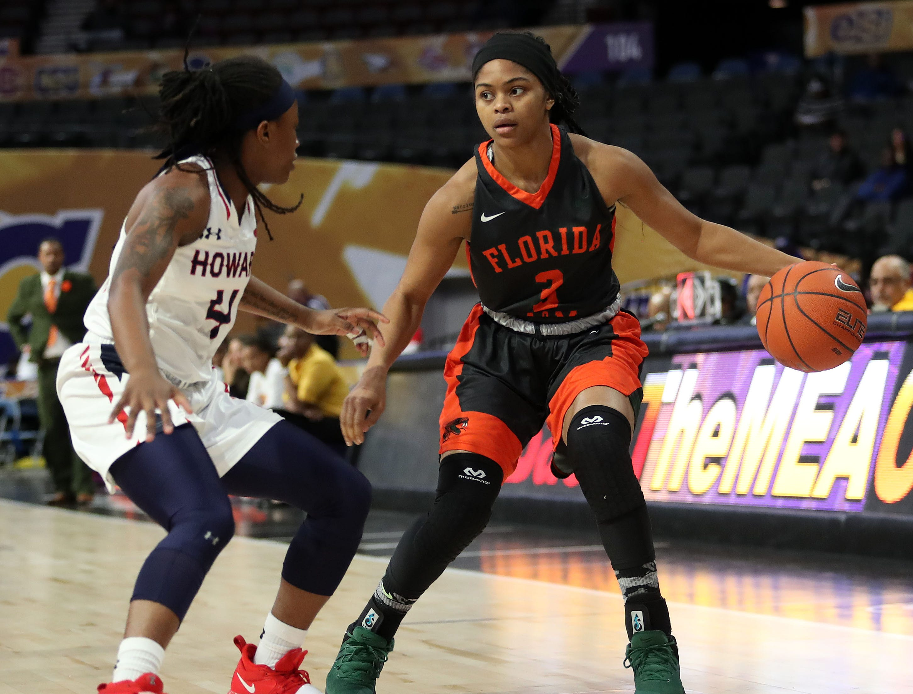 FAMU guard Candice Williams looks to break Howard's defense in the first round of the MEAC tournament on Monday, March 11, 2019.