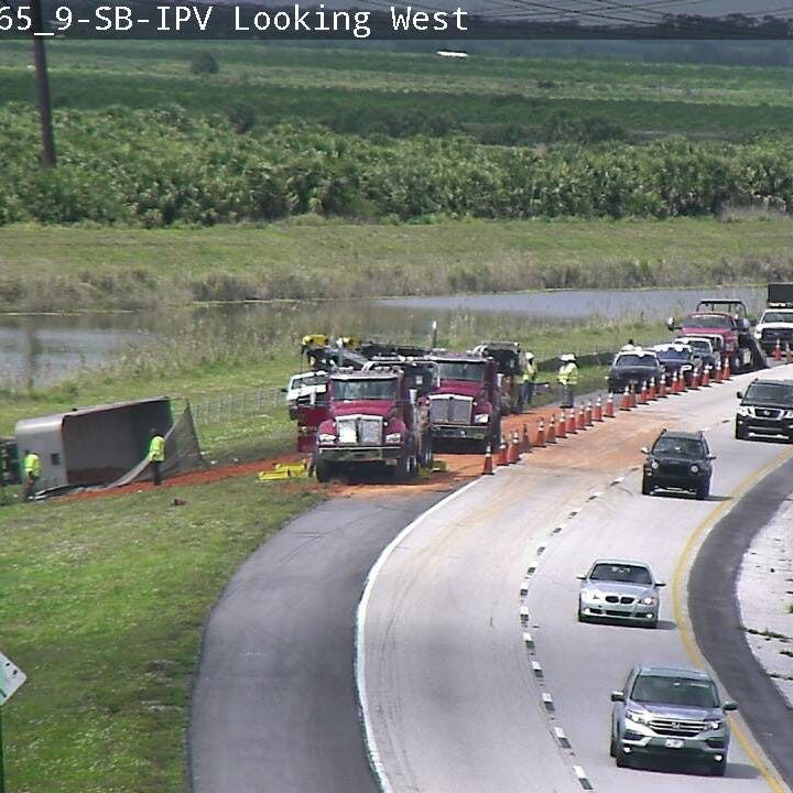Dump truck overturns on Florida's Turnpike near Fort Pierce; man airlifted to hospital