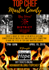 The 2019 Top Chef Martin County charity event is April 15 at the District Table & Bar in Stuart.