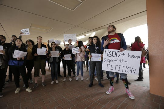 "UTEP students rally behind the chant, "" ""We deserve better."" in March 11 protest of Heather Wilson's appointment as the next UTEP president."