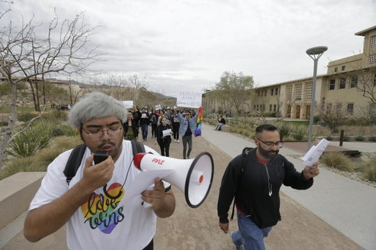 Michael Gutierrez, a computer science major, and UTEP students protest the appointment of Heather Wilson as the next president of the university.