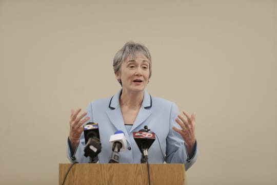 Heather Wilson, U.S. Secretary of the Air Force, talks at a March 11 press conference at the UT El Paso campus after being named sole finalist for the next UTEP president.