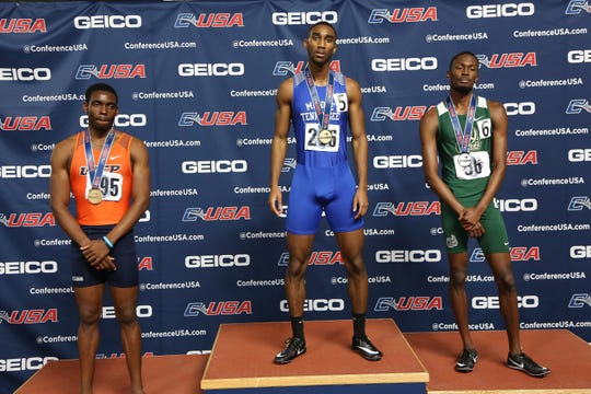 Sean Bailey, left, was the bronze medalist in the 400 meters at the Conference USA Indoor Track and Field Championships in February.