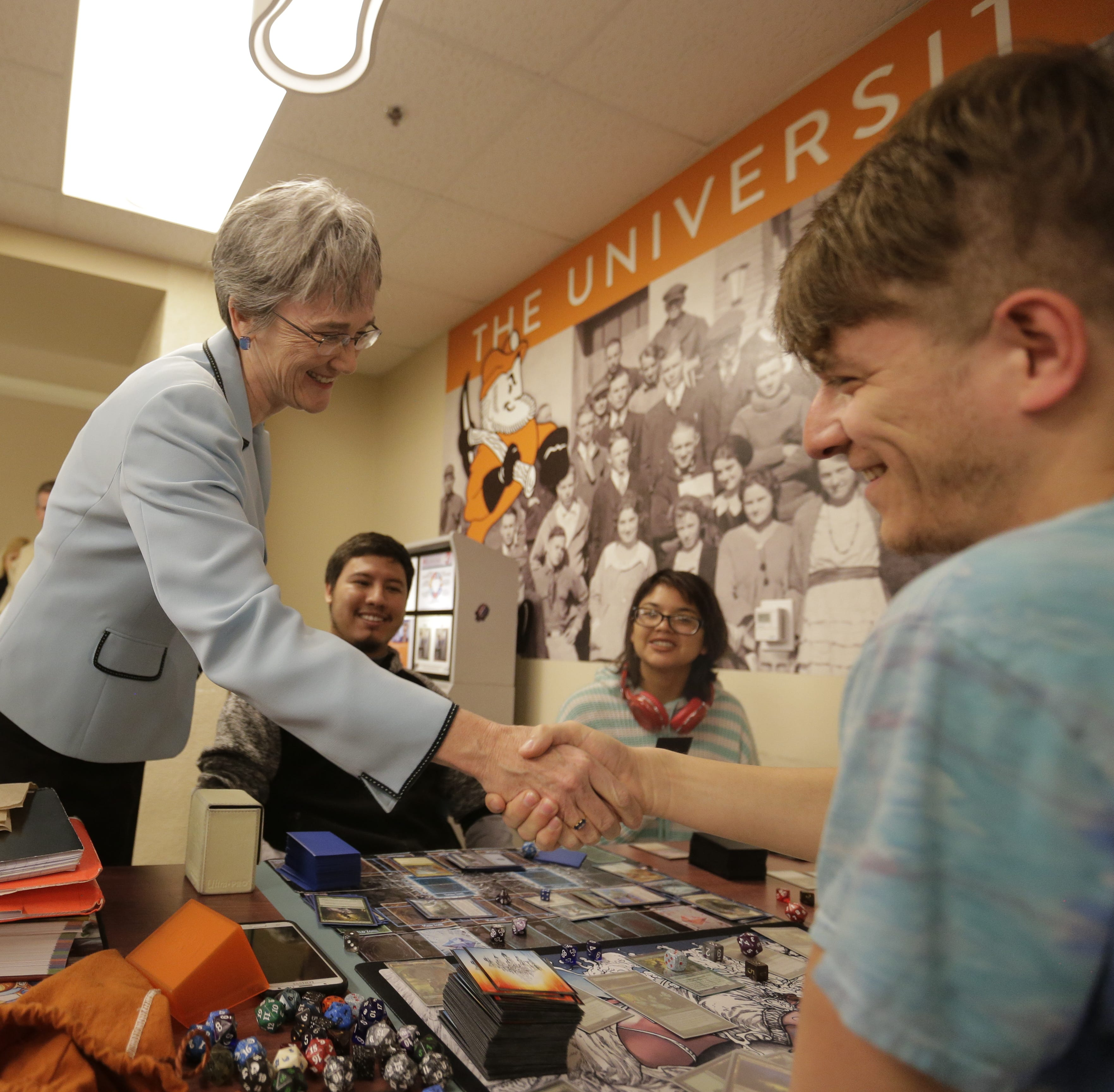 Heather Wilson visits UTEP to sell herself as the school's next president, draws protest